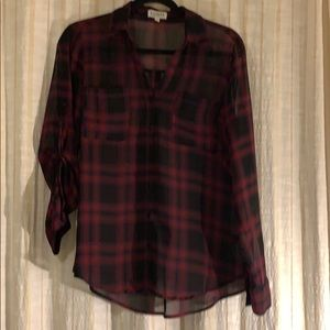 Express portfolio shirt plaid red size M sheer
